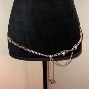 🖤 Double Chain Hip Belt w/ Black Hearts  🖤